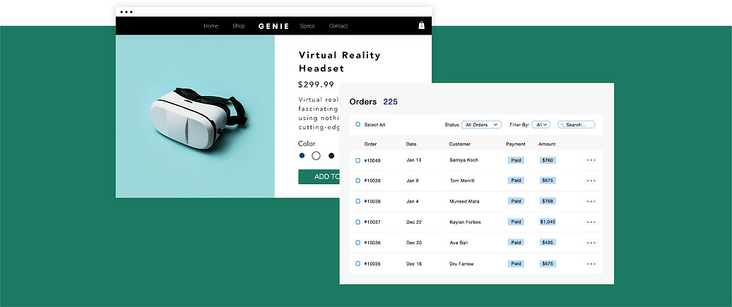Tech gear eCommerce business with virtual headset product page and online transactions table.