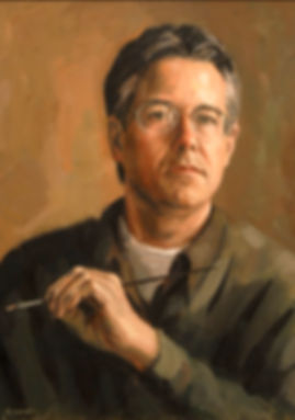 "Sam Knecht Self Portrait Painting - oil on linen, 20"" x 16"""
