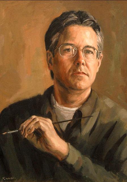 "Sam Knecht Self Portrait Painting - oil on linen, 20"" x 16"""