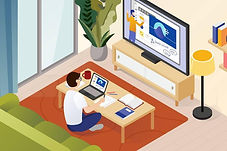 a cartoon image of a man working from home