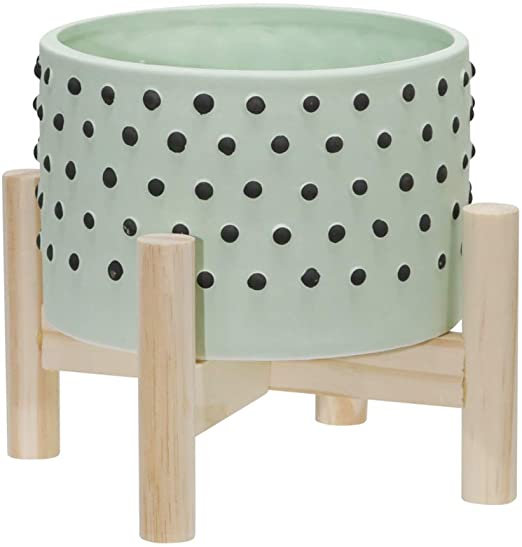 MACETERA 15073-02 / SG GREEN DOTTED PLANTER