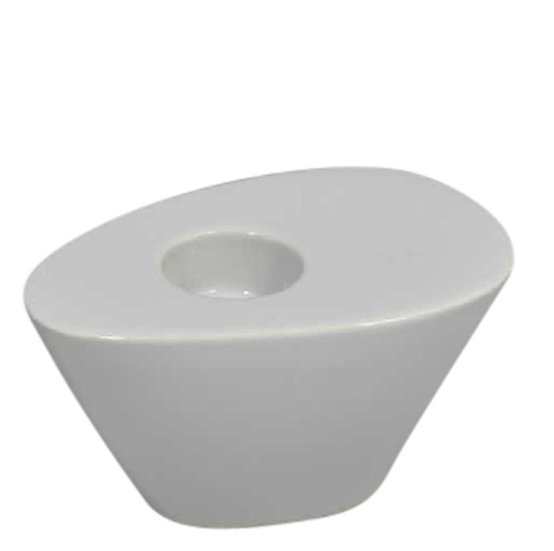 DECOR 13062-02 / SG WHITE WEDGE CANDLE HOLDER