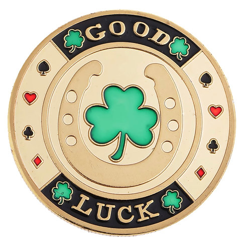 Altın yeşil yonca şans madeni para