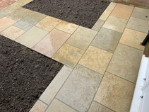 Limestone paving led in courses