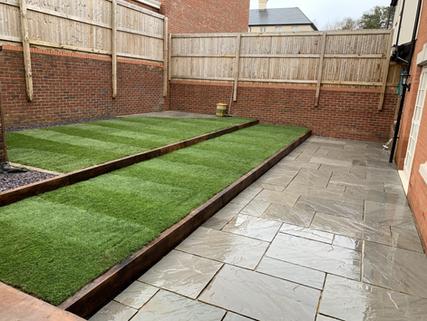 Ground level view of tiered garden