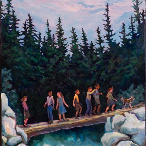 Eight on a Log Bridge