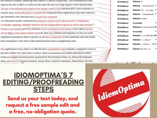 IDIOMOPTIMA'S 7 EDITING/PROOFREADING STEPS
