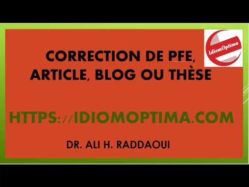 Avez-vous besoin d'une correction de votre projet de fin d'études (PFE), article, blog ou thèse ?