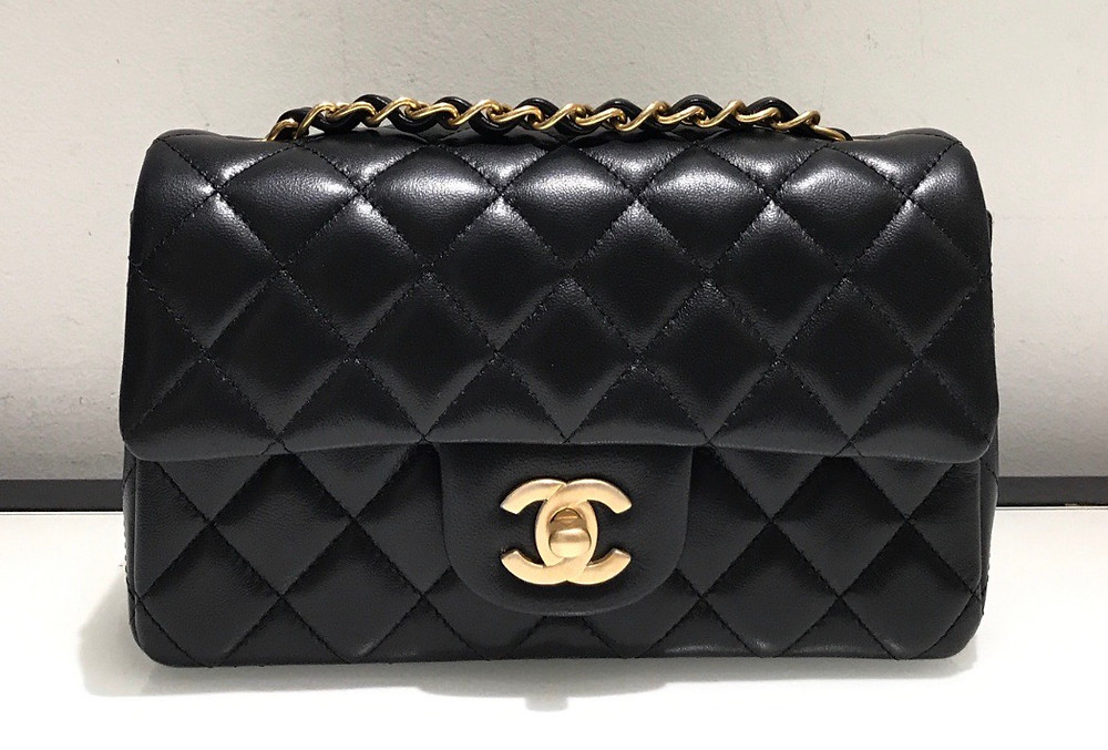 Chanel Mini Flap Rectangular in Black Lambskin