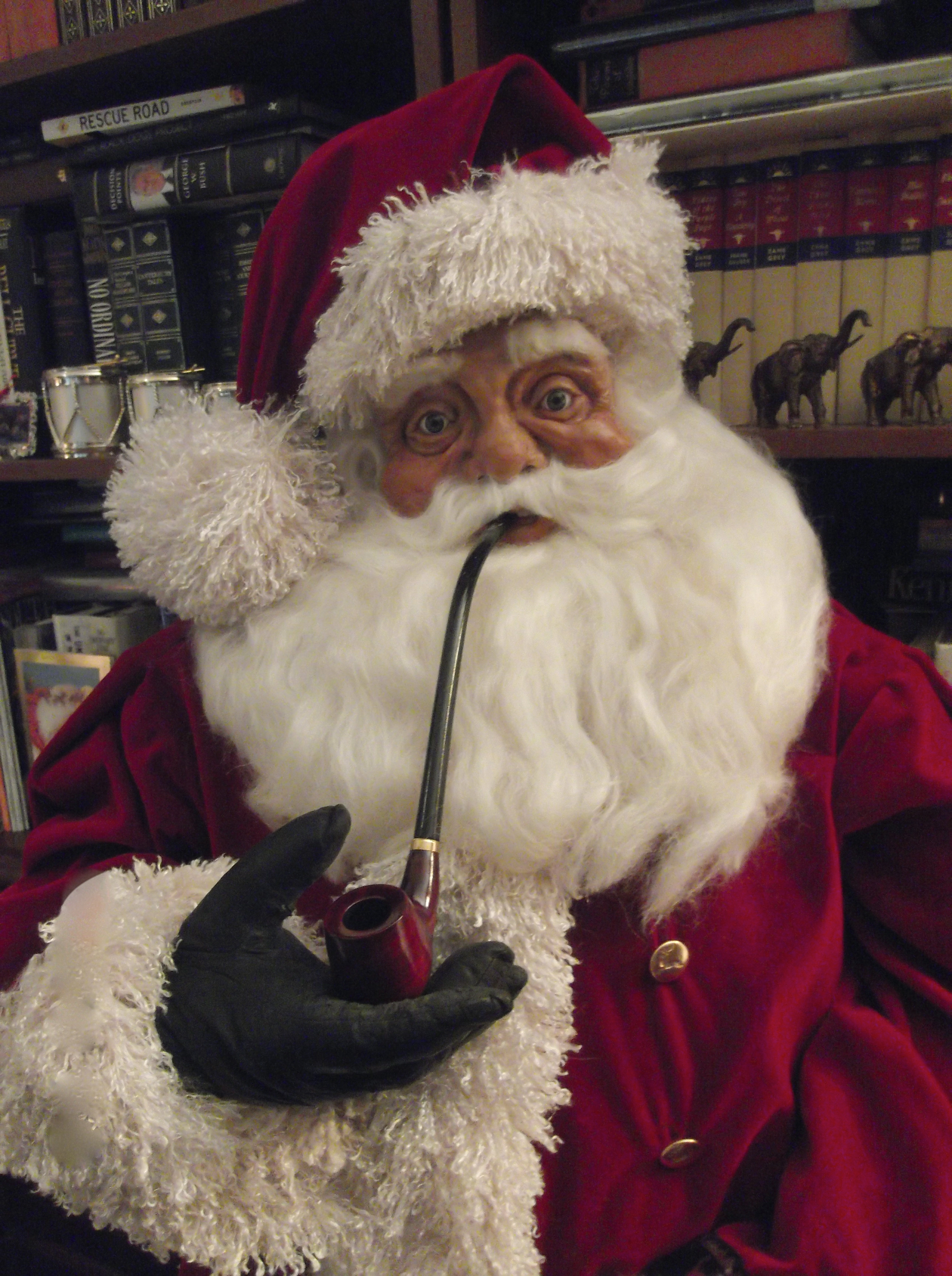 Santa smoking a pipe...