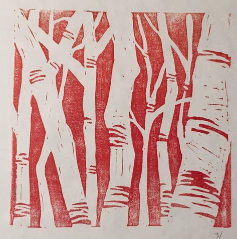 "Linocut print, 8""x10"""