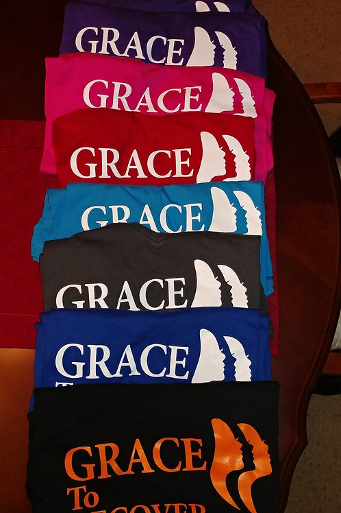Grace To Recover T-Shirt, Orange Lettering