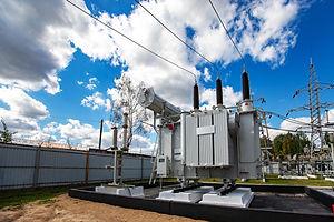 modern powerful transformer substation w