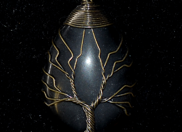 Obsidian Tree of Life Pendant