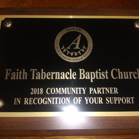 Faith Tabernacle 2018 Meridian Elementary Community Partner