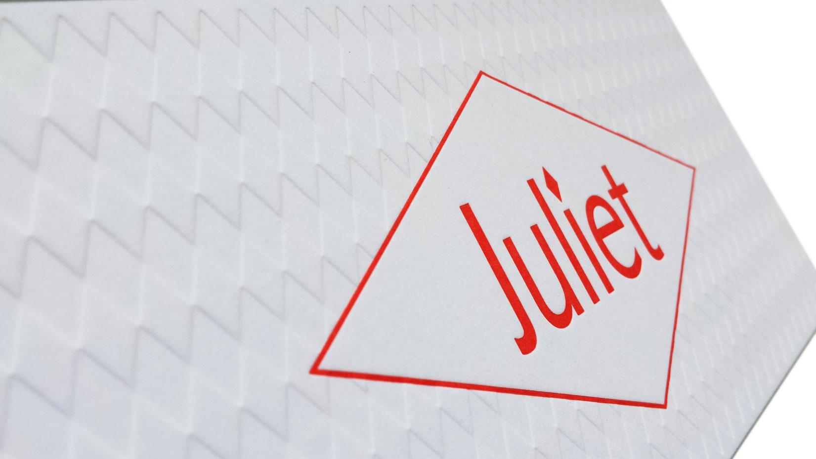 Geboortekaartje letterpress-Juliet