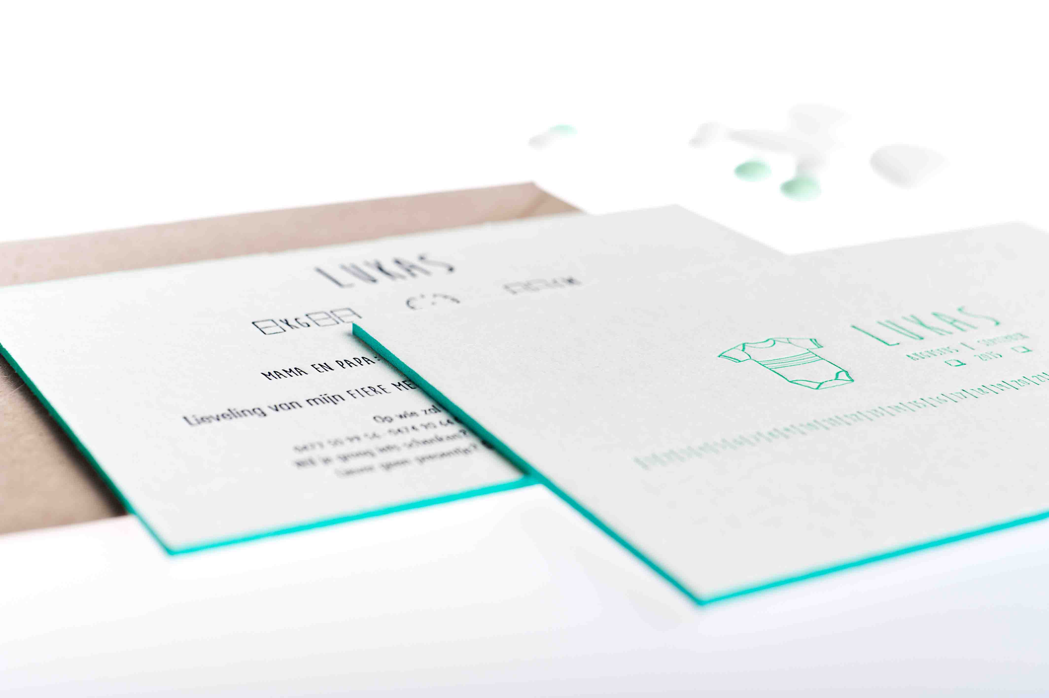 Geboortekaartje letterpress-lukas