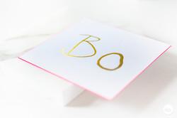 Geboortekaartje letterpress fluo