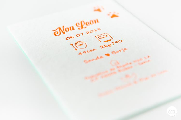 Geboortekaartje letterpress-Noa Leon