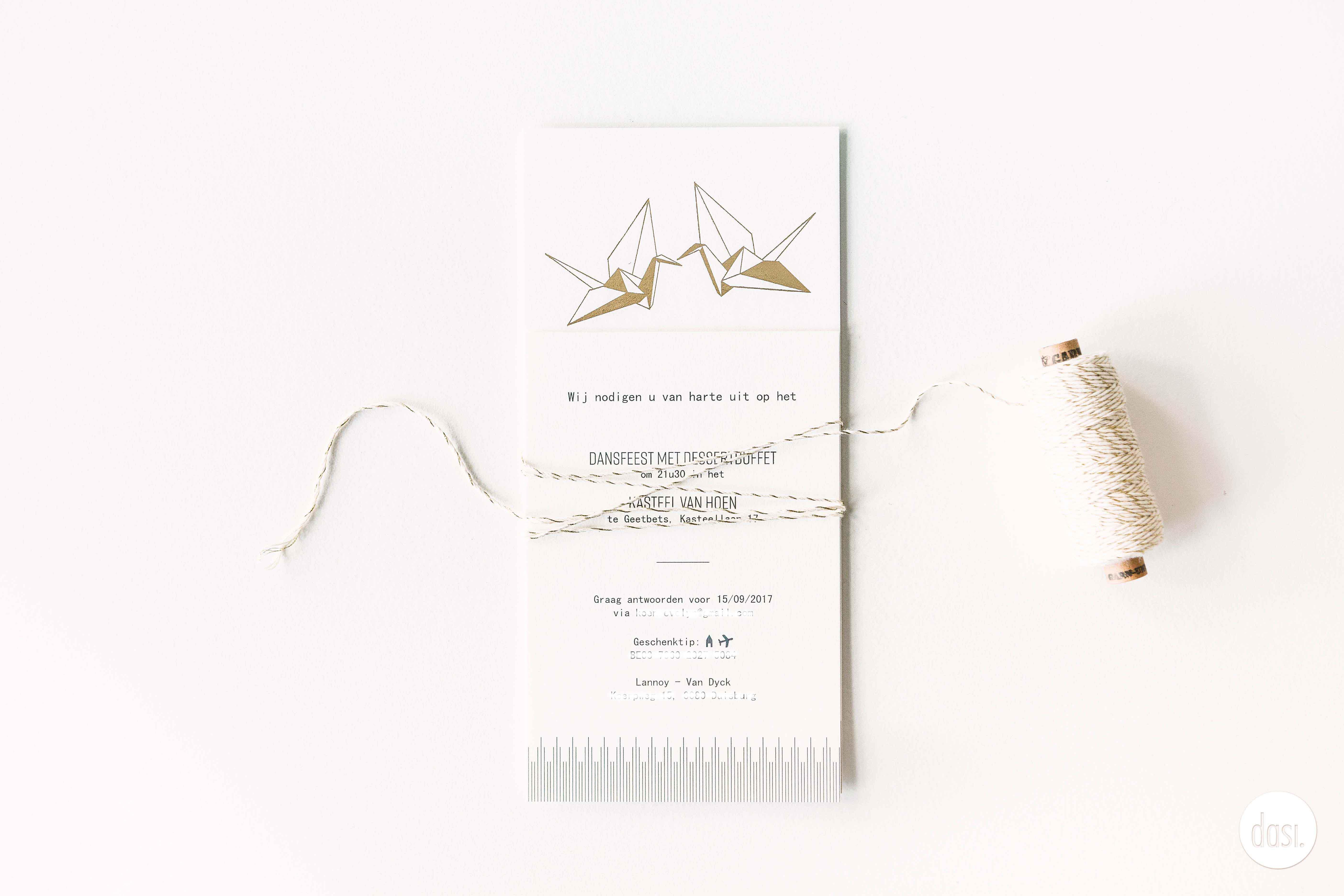 Uitnodiging letterpress kraanvogel