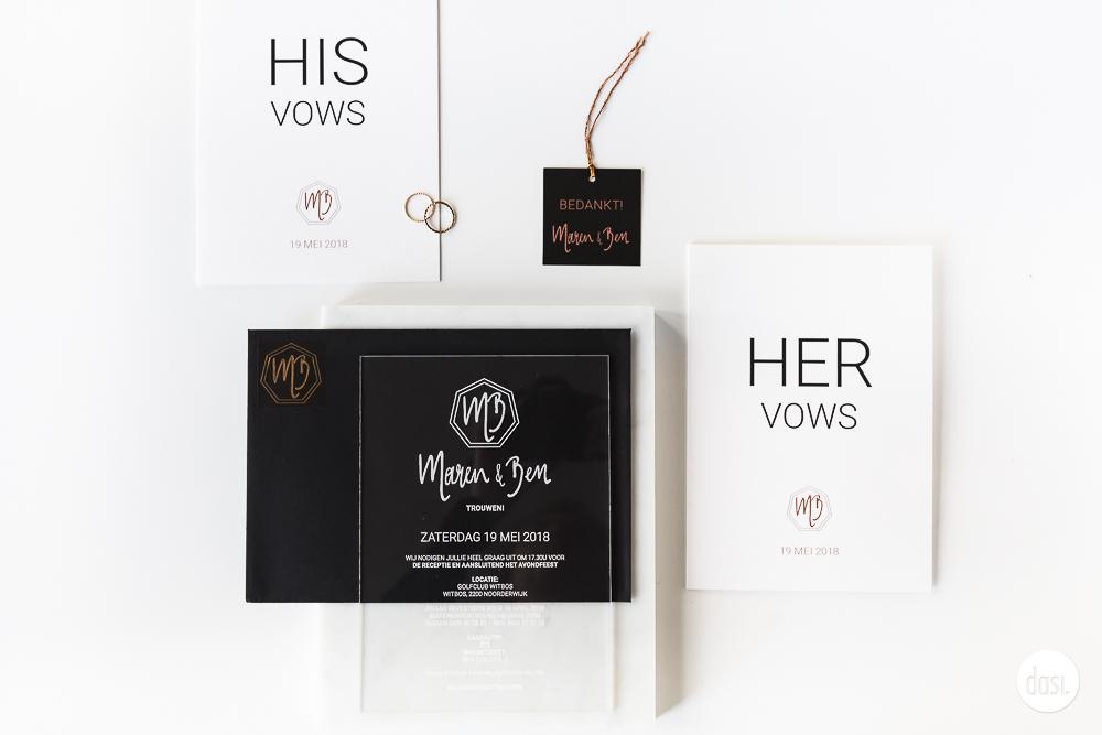 Plexi glas huwelijksuitnodiging