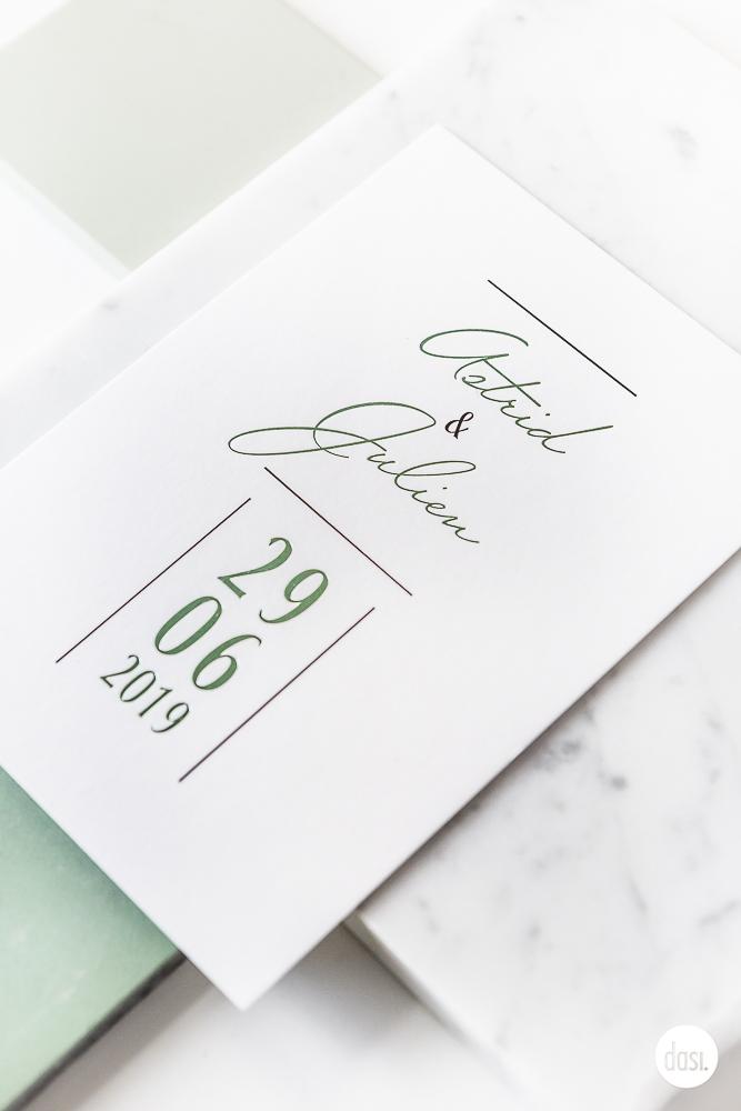 Huwelijksuitnodiging munt foliedruk