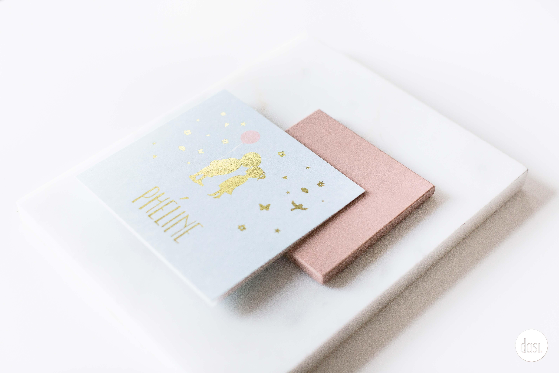 Geboortekaartje goud folie