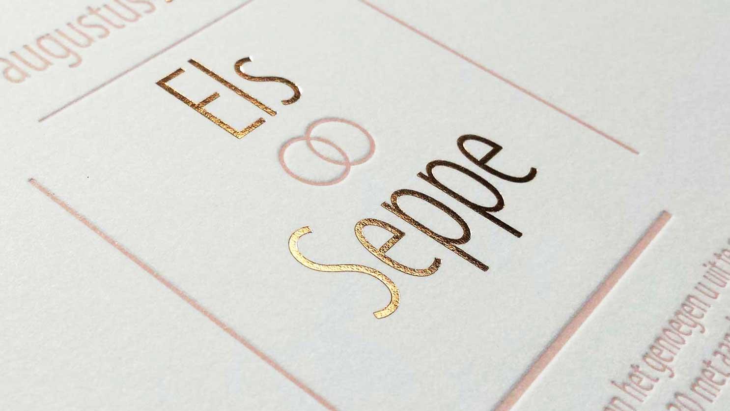 Huwelijksuitnodiging roze-goud