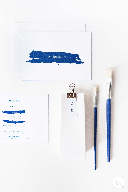 Geboortekaartje blinkend blauw folie