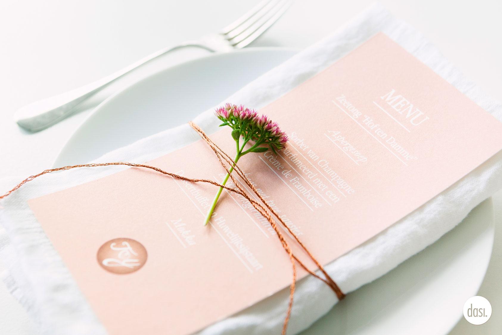 Huwelijksdrukwerk roze en roosgoud