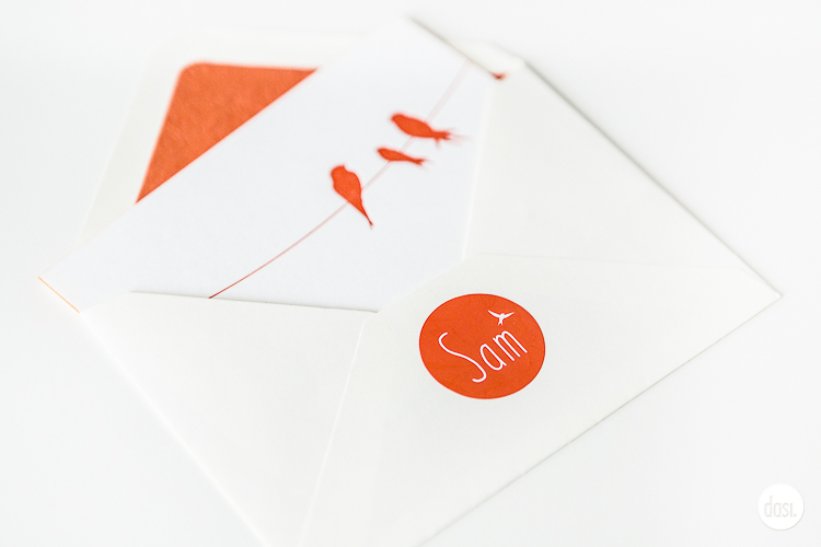 Geboortekaartje letterpress - Sam
