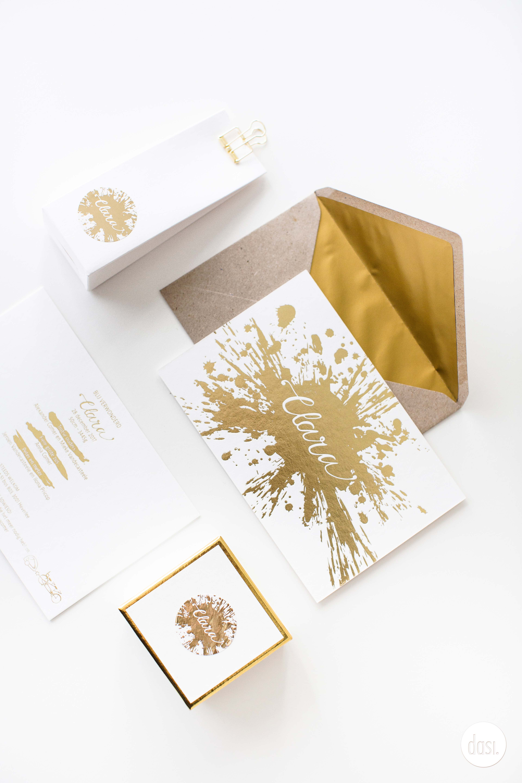 Geboortekaartje blinkend folie goud