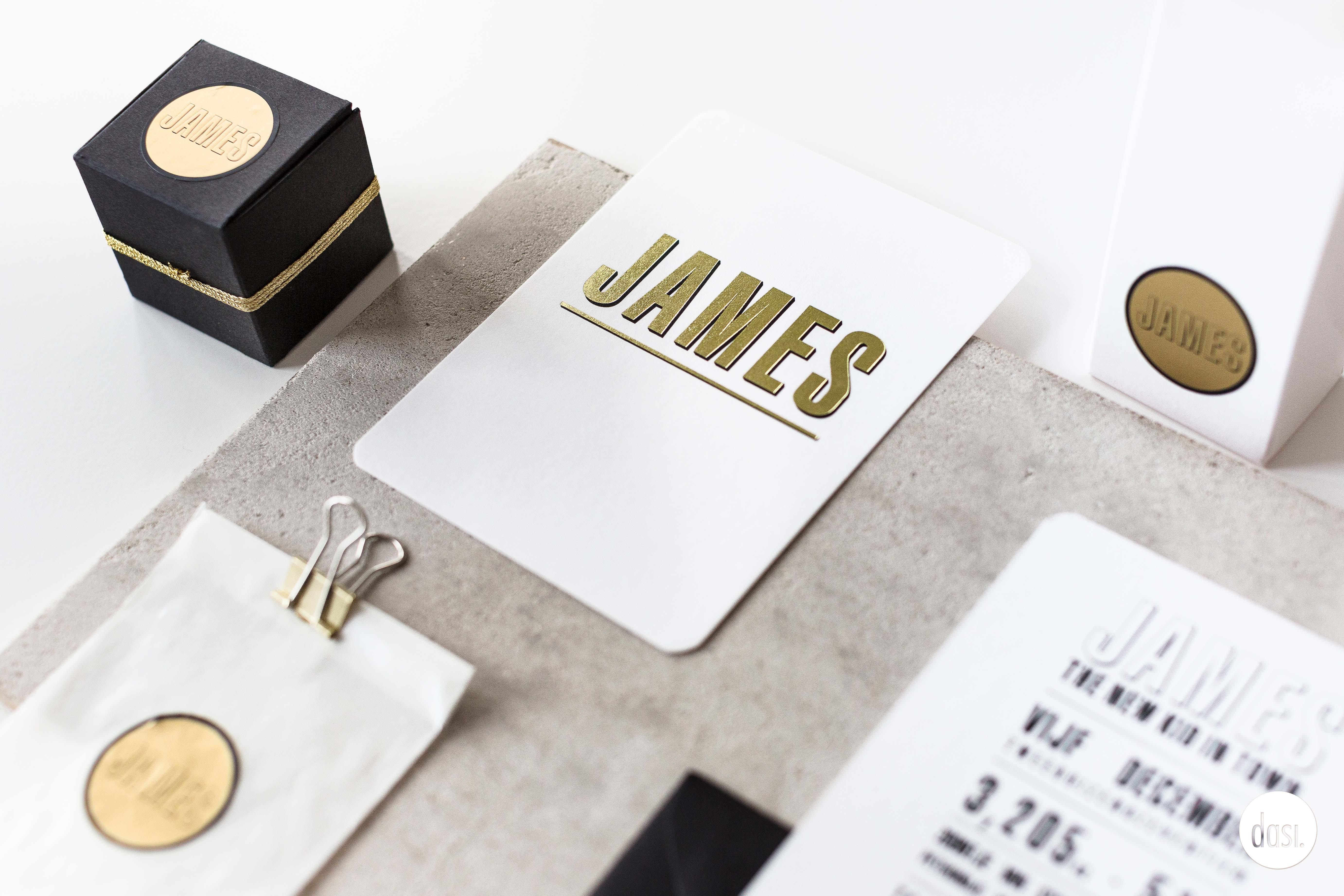 Geboortekaartje met goud James