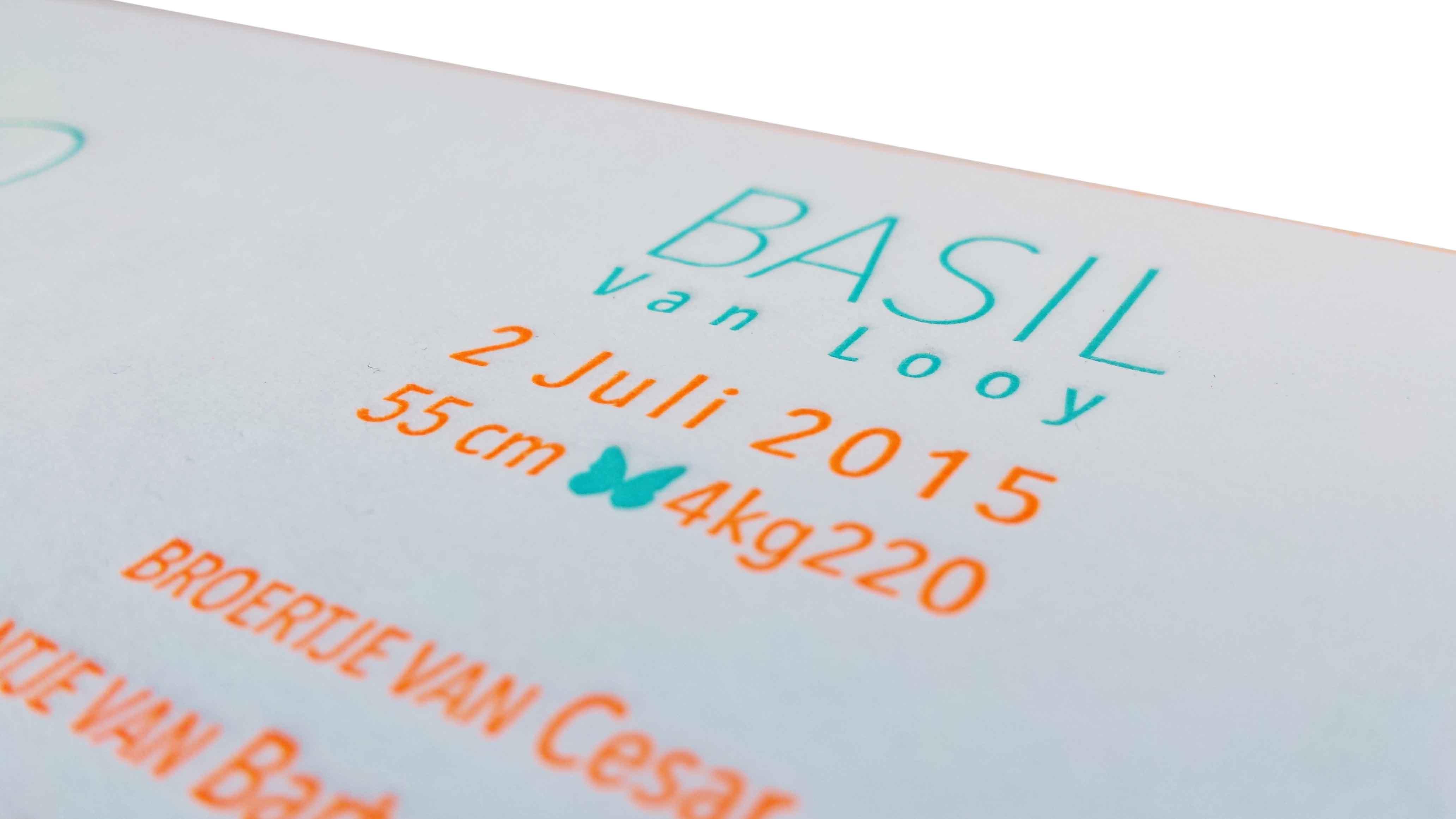 Geboortekaartje in letterpress-Basil
