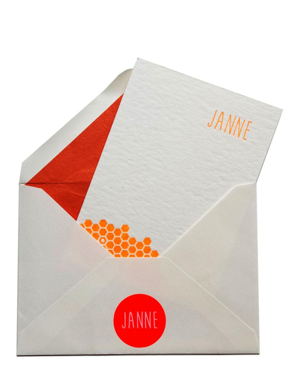 Geboortekaartje in letterpress Janne