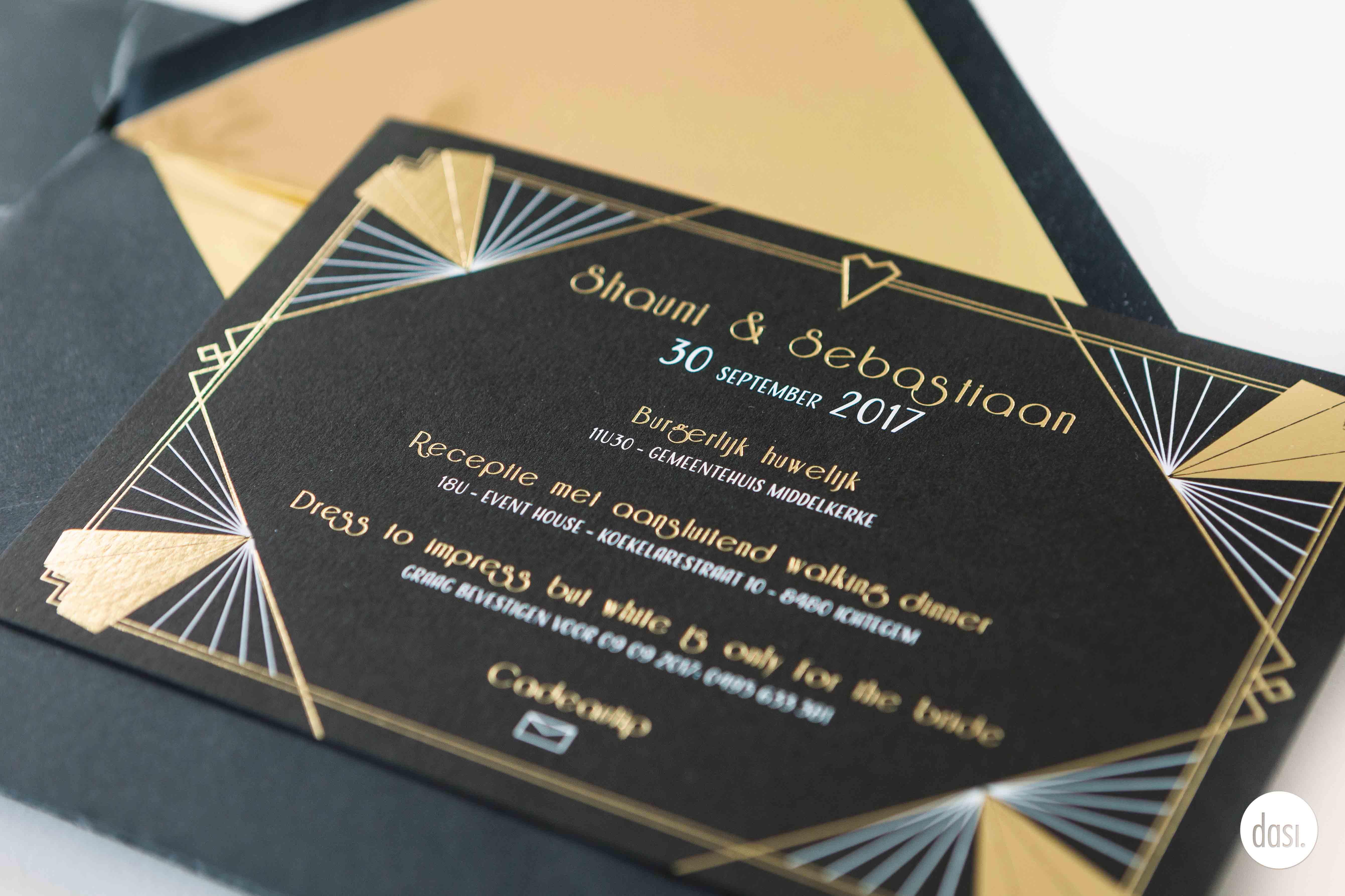 Zwarte trouwuitnodiging goud
