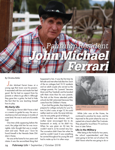 4 page article on John Michael Ferrari in Pahrump Life Magazine