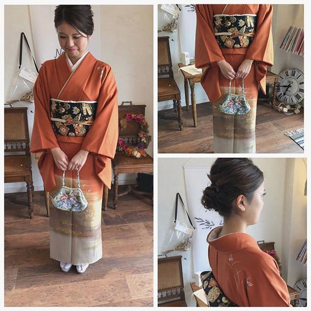 ・_guest ・_レンタル着物👘_オレンジの着物に、私の大好きな帯を合わせて
