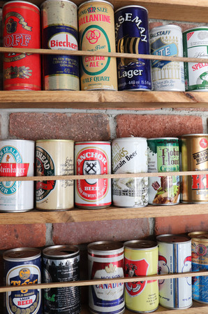 Vintage beer can wall @ The Derby.