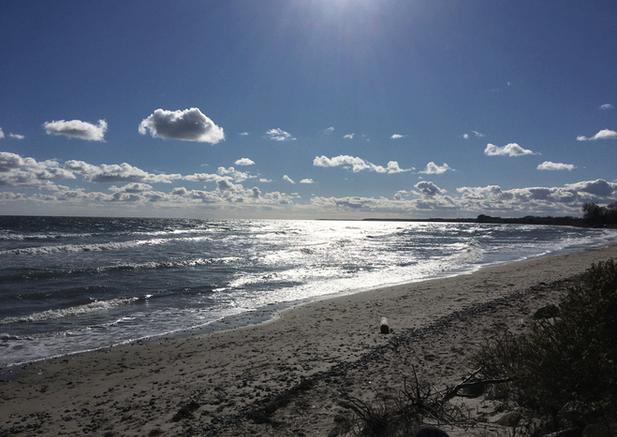 En smuk dag på stranden lige nedenfor