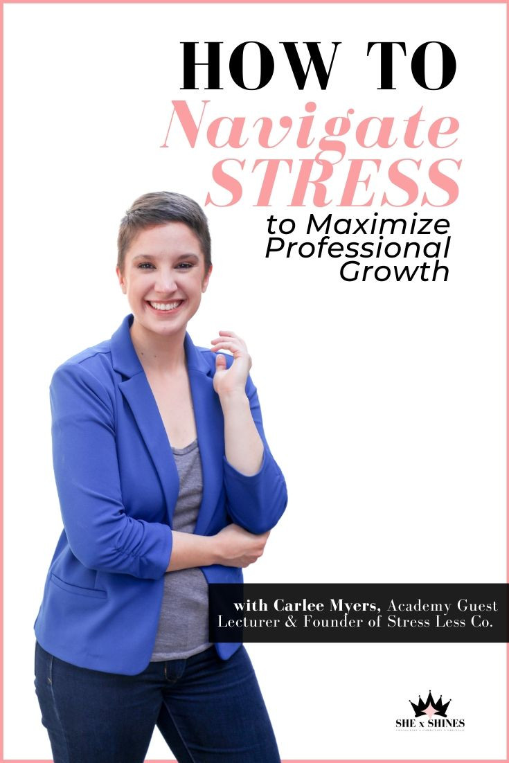 "In this course of the SHE x SHINES Academy, you will learn exactly what stress is and it's the effects on the body, as well as essential tips to identify stressors that may be preventing you from reaching your professional goals. Carlee will also show you how to avoid ""the stress spiral"" and walk you through how to turn your obstacles into opportunities."