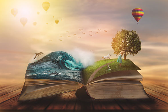 _Concept of an open magic book; open pages with water and land and small child. Fantasy, n