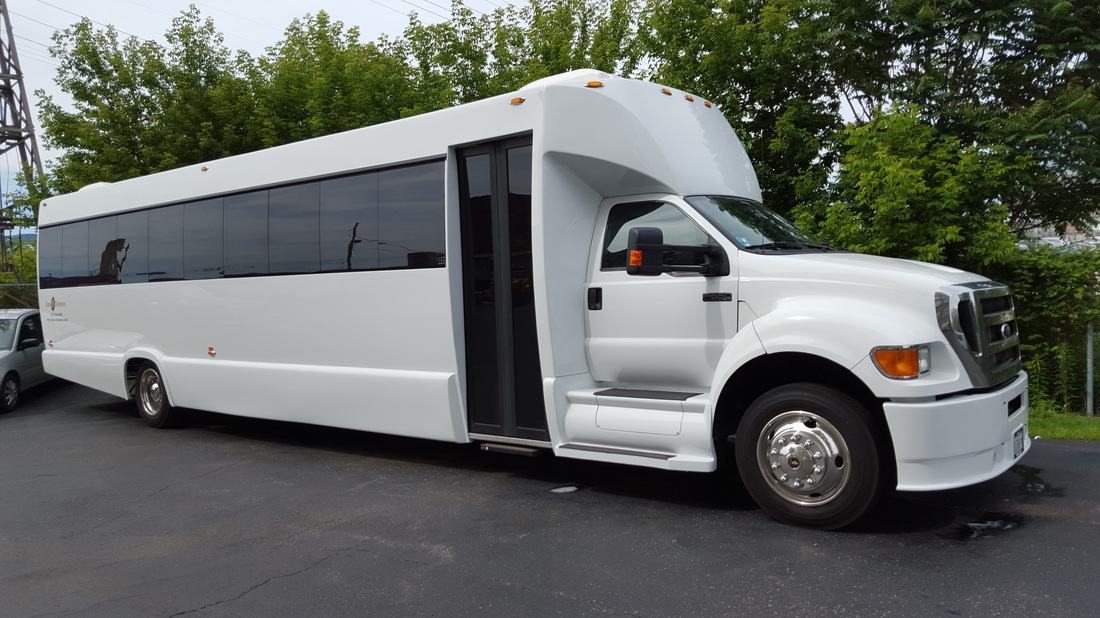 34 Passenger White Party Bus Exterio