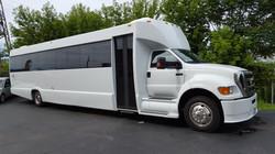 34 Passenger White Party Bus Exterio