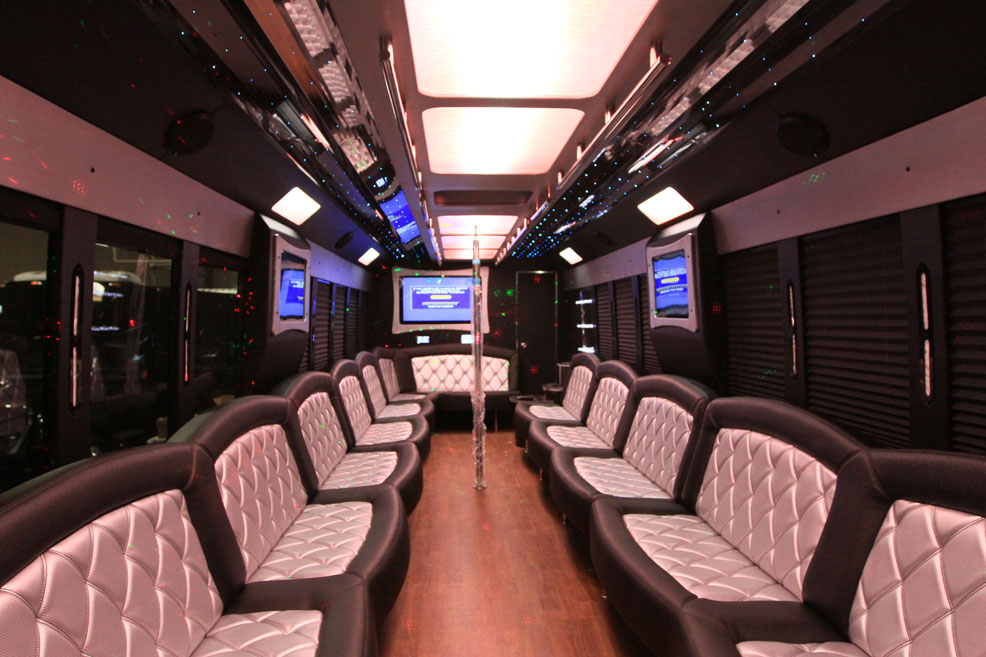 34 Pass White Party Bus - Interior