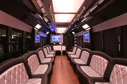 34 Pass White Party Bus - Interior
