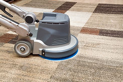 Carpets chemical cleaning with professionally disk machine. Early spring cleaning or regul