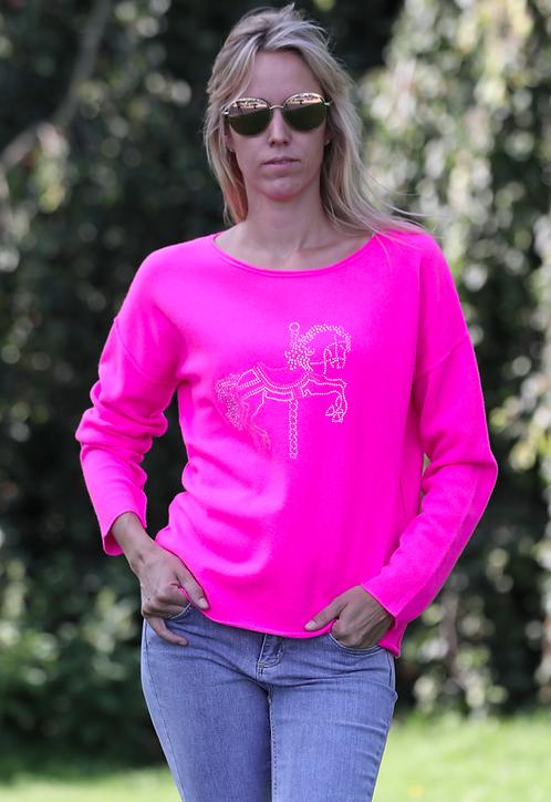 Cashmere Pullover Stockpferd neonpink