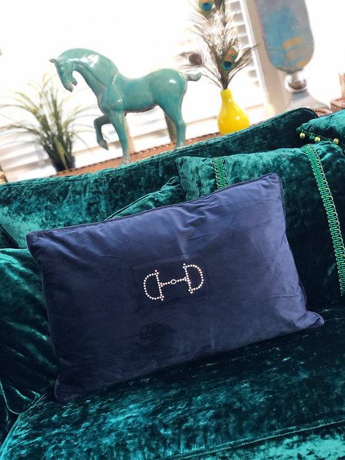 Pillow  navy velvet sparkle snaffle 35x60