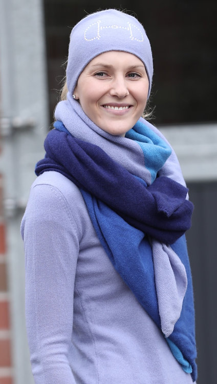 Cashmere Scarf 4-shades of blue
